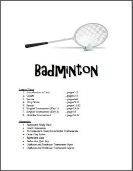 Badminton Unit for Physical Education