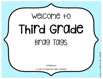 Brag Tags Welcome to Third Grade