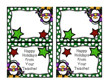 Holiday Bag Toppers- Happy Holidays from Your Teacher- fits 4 inch bag