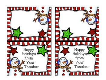 Holiday Bag Toppers- Happy Holidays from Your Teacher- fit