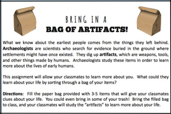 Bring in a Bag of Artifacts!  Students learn about archaeology and each other!