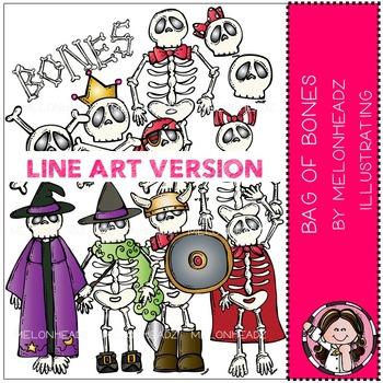 Melonheadz: Bag of bones clip art - LINE ART