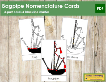 Bagpipes Nomenclature Cards