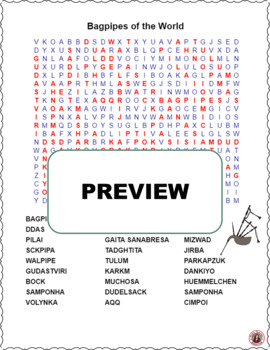 Bagpipes of the World Word Search