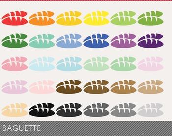 Baguette Digital Clipart, Baguette Graphics, Baguette PNG, Rainbow Baguette