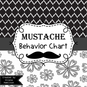 Mustache Themed Behavior Chart ~Black and White ~Editable~