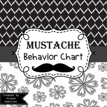 Mustache Themed Behavior Chart ~Black and White ~Editable~