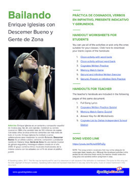 Bailando by Enrique Iglesias: Cognates, Gerunds, Infinitive and Present Verbs