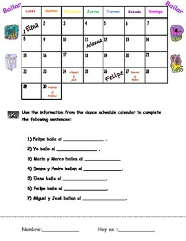 """Bailar"" calendar fill-in activity"