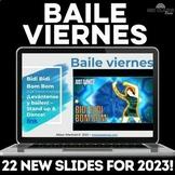Baile viernes! Dance in Spanish class - Google Slides Brai