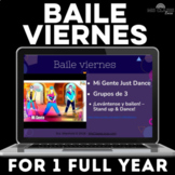 Baile viernes for a year! Dance slides brain breaks for Spanish class