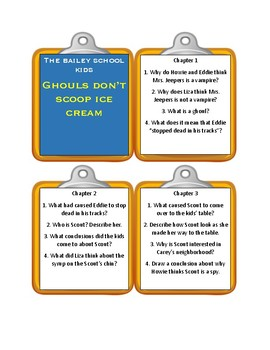Bailey School Kids GHOULS DON'T SCOOP ICE CREAM * Discussion Cards