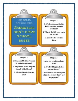 Bailey School Kids GARGOYLES DON'T DRIVE SCHOOL BUSES Discussion Cards