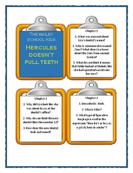 Bailey School Kids HERCULES DOESN'T PULL TEETH - Discussion Cards