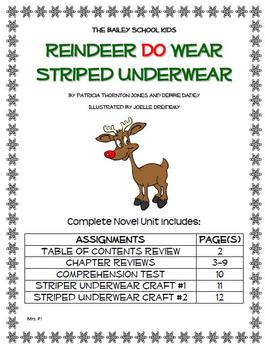 "Bailey School Kids ""Reindeer Do Wear Striped Underwear"" Novel Unit"