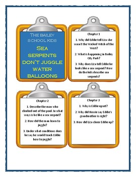 Bailey School Kids SEA SERPENTS DON'T JUGGLE WATER BALLOONS Discussion Cards