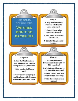 Bailey School Kids WITCHES DON'T DO BACKFLIPS - Discussion Cards