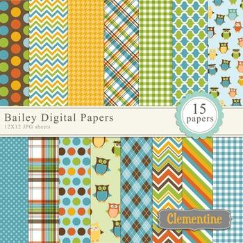 Bailey digital scrapbooking papers,  owl scrapbook papers