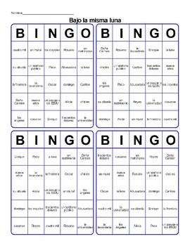 Bajo la Misma Luna Bingo Cards