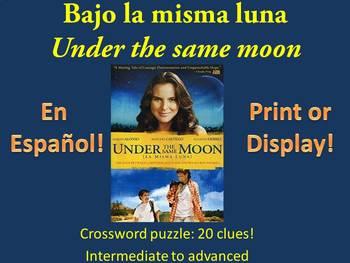 Bajo la Misma Luna Crossword by Viva le lingue | TpT