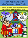 Back to School Reading Activities: Old Lady Who Swallowed Some Books  - Color