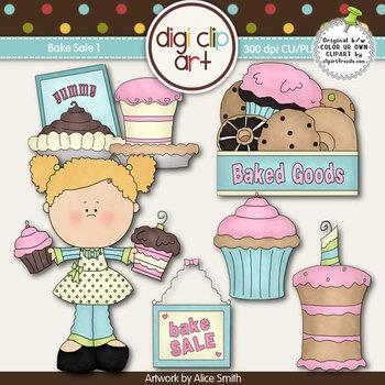 Bake Sale 1 -  Digi Clip Art/Digital Stamps - CU Clip Art