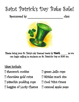 Bake Sale Flyer - Saint Patrick's Day