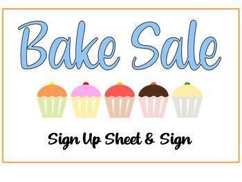 Bake Sale Sign Up Sheet