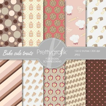Bake sale digital paper, commercial use, scrapbook papers,
