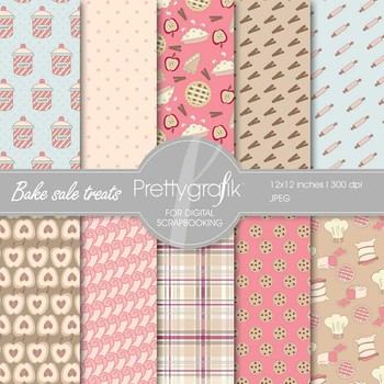 Bake sale treats digital paper, commercial use, scrapbook papers - PS524