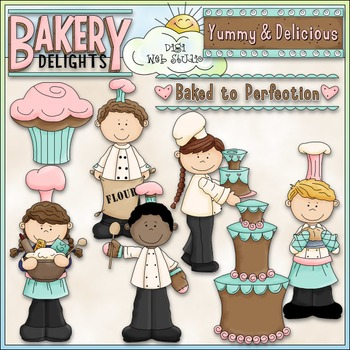 Baker Boys and Girls Clip Art - Baking Clip Art - Bakery - CU Clip Art & B&W
