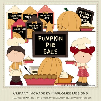 Baker Pumpkin Pie Thanksgiving Clip Art Graphics Set 1