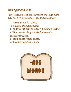 Baker theme - ADE Word Family Activity/Project Set - NO PREP