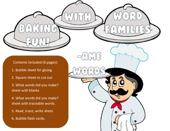 Baker theme - AME Word Family Activity/Project Set - NO PREP