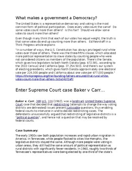 Baker v Carr--Case Description, Commentary, Vocabulary and Discussion Questions