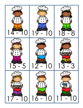 Subtracting 10 Bakers Match Game- Freebie 1.OA.6