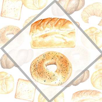 Bakery Clip arts, Bakery Elements, Kitchen Wall Print, Watercolor Bakery Collect