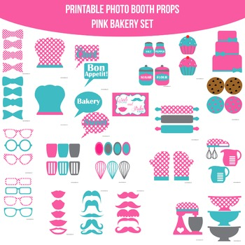 Bakery Pink Teal Printable Photo Booth Prop Set