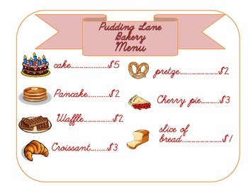 Bakery Pretend Play Sign and Order Form
