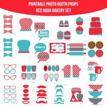 Bakery Red Aqua Printable Photo Booth Prop Set