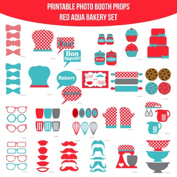 Bakery Red Aqua Printable Photo Booth Prop Set