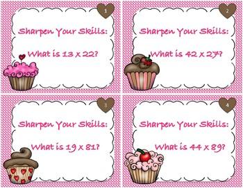 Bakery Themed 2 Digit Multiplication Task Cards