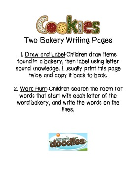 Bakery/Cookies Writing Pages