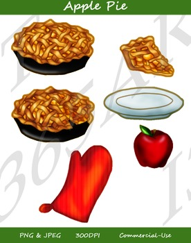 apple Pie Clipart Baking Set 6 Pack Digital Graphics