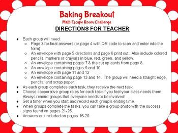 Baking Breakout: Math Escape Room Challenge