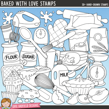 """Baking Clip Art: """"Baked With Love"""""""