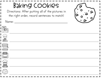 Baking Cookies Sequencing Cards and Writing Activity