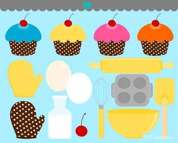 Baking cupcakes clipart commercial use