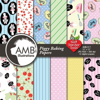 Digital Papers - Baking Day with little piglets paper and backgrounds - AMB-515