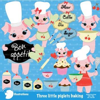 Baking Clipart, Pigs Clipart, Little Pigs Clip Art, AMB-514